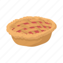 baked, cartoon, crust, dessert, meal, pie, warm icon