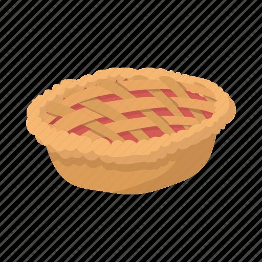 baked, cartoon, crust, dessert, meal, pie, warm icon