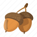 acorn, autumn, brown, cartoon, forest, fruit, season icon