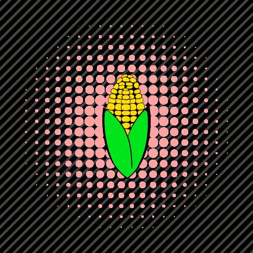 comics, corn, corncob, food, grain, healthy, vegetable icon