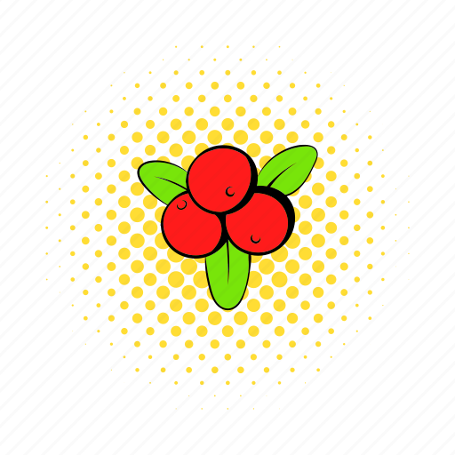 berry, comics, cranberry, food, freshness, living pictogram, red icon