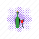 alcohol, bottle, comics, drink, glass, red, wine icon