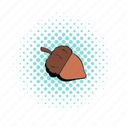 acorn, brown, comics, nature, nut, oak, seed icon