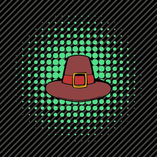 brown, comics, hat, holiday, pilgrim, thanksgiving, traditional icon