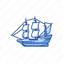 boat, mayflower, pilgrims, wooden ship icon