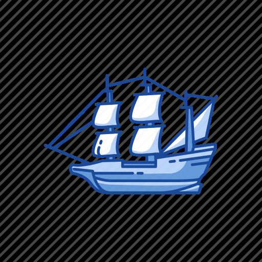 boat, mayflower, pilgrims, wooden ship icon
