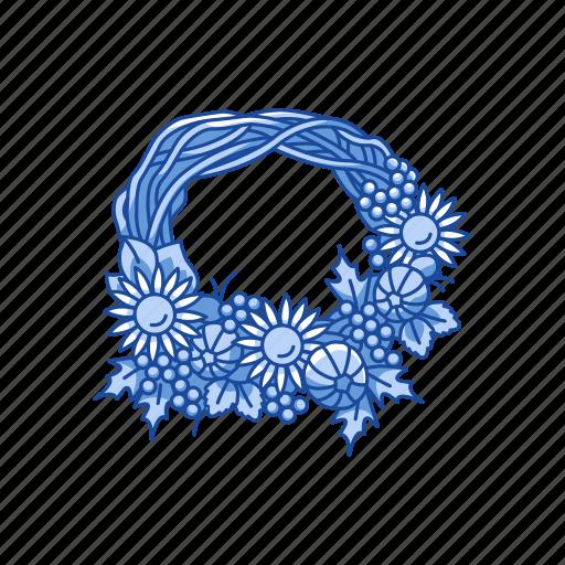 fall wreath, festive wreath, ornament, wreath icon