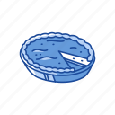 baked pie, fruit pie, pie, slice pie icon