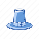 flat topped hat, hat, hat with buckle, pilgrim icon