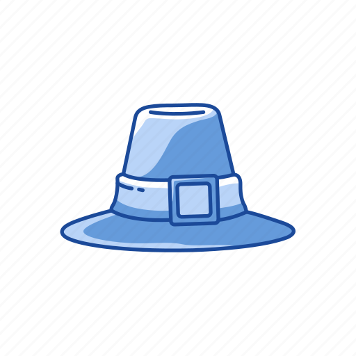flat topped hat, hat, hat with buckle, pilgrim hat icon