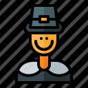 pilgrim, thanksgiving, man, autumn, holiday icon