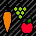 apple, carrot, food, fruit, thanksgiving, vegetable icon