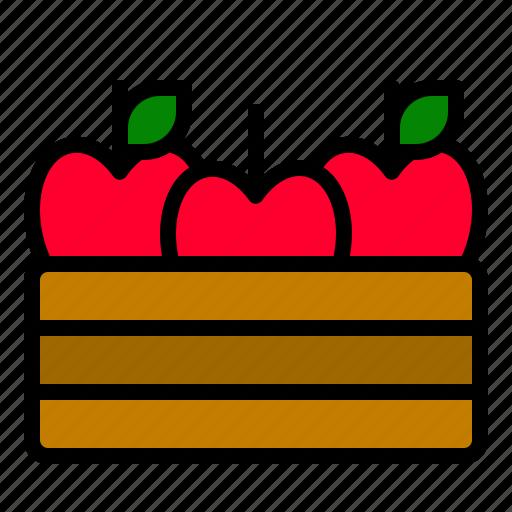 apple, basket, food, fruit, thanksgiving icon