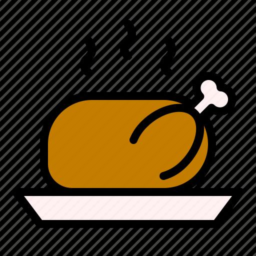 chicken, food, roast turkey, thanksgiving, turkey icon