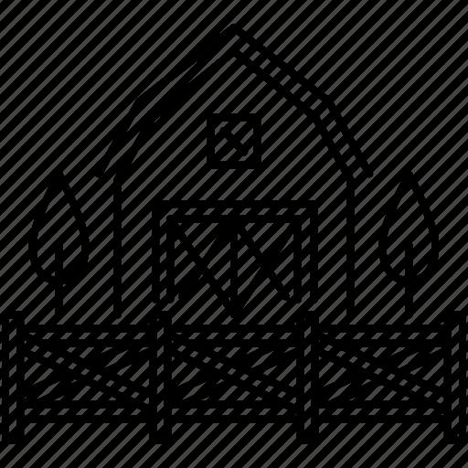 farm, fence, house, thanksgiving icon