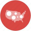 bubble, data, location, map, us, usa icon