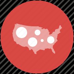 bubble, data, location, map, us, usa icon