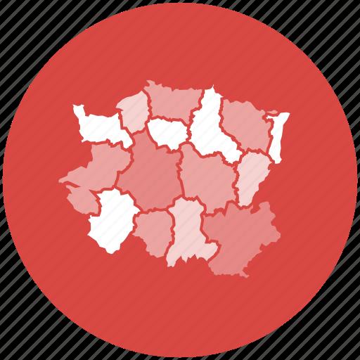 choropleth, data map, dataviz, location, map, regions, state icon