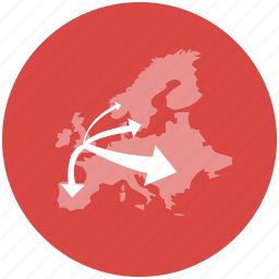 arrows, europe, flow, immigration, map, migration, travelling icon
