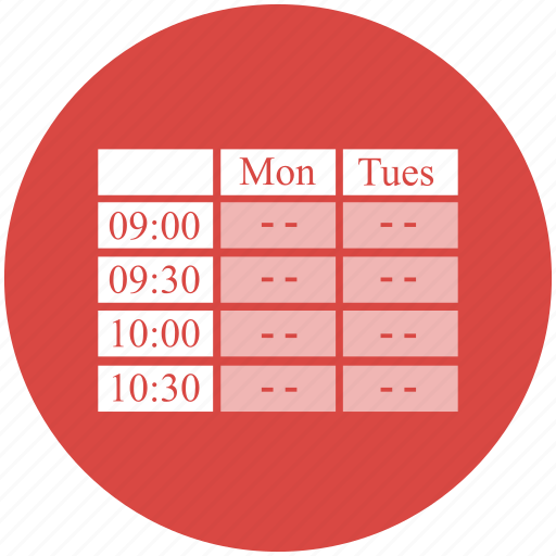 appointment, calendar, schedule, time table, timetable icon