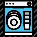 cleaning, dishwasher, kitchen, utensil icon