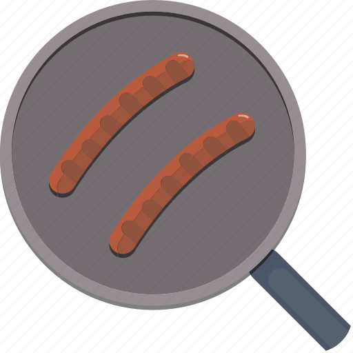 eat, food, kitchen, pan, sausage icon