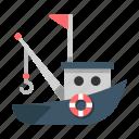 boat, fisherman, fishery, fishing, sailing, ship, transportation icon