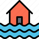 flood, house, sea, water, weather icon