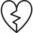 broken, heart, love, romance, shape, sign, valentine icon