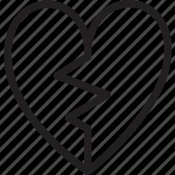 broken, heart, love, romance, shape, sign, valentine icon