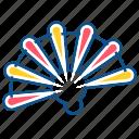 fan, finger, foam, hand, hand fan, summer icon