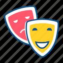 cinema, entertainment, face, gas, mask, theatre icon