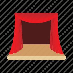 cartoon, opera, performance, red, scene, show, theater icon
