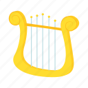 cartoon, instrument, lyre, music, musical, string, yellow icon