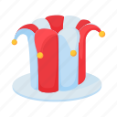 cap, carnival, cartoon, clown, comic, fool, jester icon