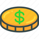 business, coin, dollar, finance, money icon