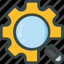 optimization, search, seo, setting, zoom icon