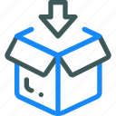 box, down, logistic, package icon