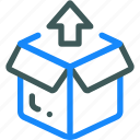 box, logistic, package, up icon