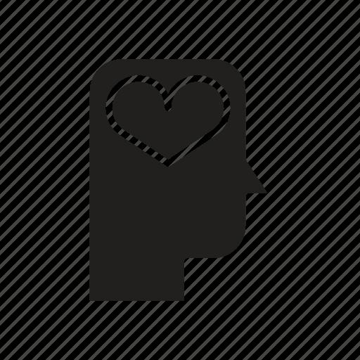 head, heart, love, mind, thinking icon