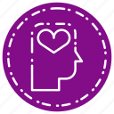 head, heart, love, romance, thinking icon