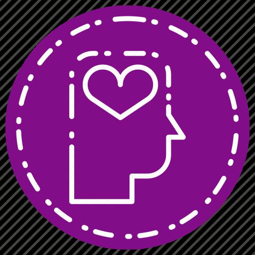 head, heart, love, romance, thinking icon