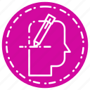 head, pen, thinking, write icon