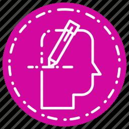 head, pen, thinking, write icon