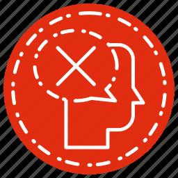 head, refuse, thinking icon
