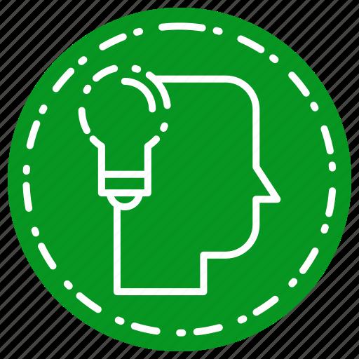 creative, head, idea, lamp, thinking icon
