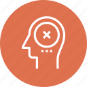 brain, failure, head, human, mark, mind, thinking icon