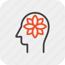 flower, harmony, head, human, mind, relaxation, thinking