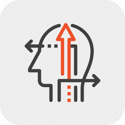 arrow, direction, head, human, mind, opportunity, thinking icon