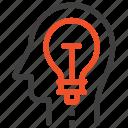 bulb, head, human, idea, imagination, light, mind